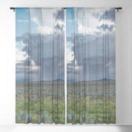 Desert Rain - Summer Thunderstorms Near Taos New Mexico Sheer Curtain
