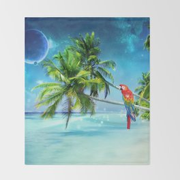 Parrot in the beach Throw Blanket