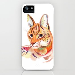 Serval wild cat watercolor iPhone Case