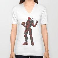 halo V-neck T-shirts featuring Halo/Deadpool  by Molly Thomas