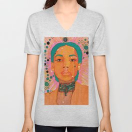 Portrait of a Lady Serene Dream Teal hair and bubbles Unisex V-Neck