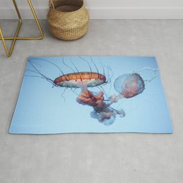Jellyfish Floating Photography | Sea Life | Ocean | Wild Species | Rainbow Colourful Happy Rug