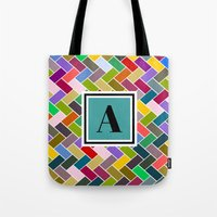 monogram Tote Bags featuring  A Monogram by mailboxdisco