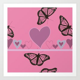 Hearts and Butteflies Art Print