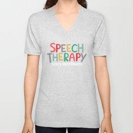 Speech Therapy Language Pathologist Print Gift Unisex V-Neck