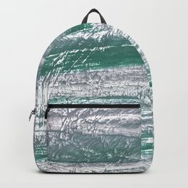 Slate gray green nebulous watercolor paper Backpack