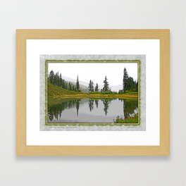 REFLECTIONS ON A PLACID MOUNTAIN LAKE Framed Art Print