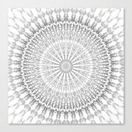Gray White Mandala Canvas Print