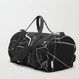 Bangkok Thailand Minimal Street Map - Midnight Black and White Duffle Bag