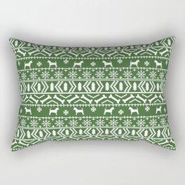 Chihuahua fair isle christmas sweater green and white minimal chihuahuas dog breed Rectangular Pillow