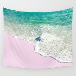 Pink Sand & Blue Sea Bliss Wall Tapestry