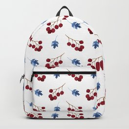 Red berries and blue watercolor leaves pattern Backpack