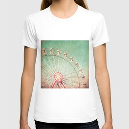 Ferris Wheel on Blue Textured Sky  T-shirt