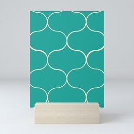 Ogee pattern aqua Mini Art Print