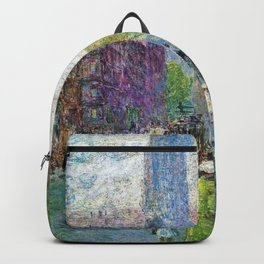 Classical Masterpiece 'Cathedral Spires - Spring Morning' by Frederick Childe Hassam Backpack