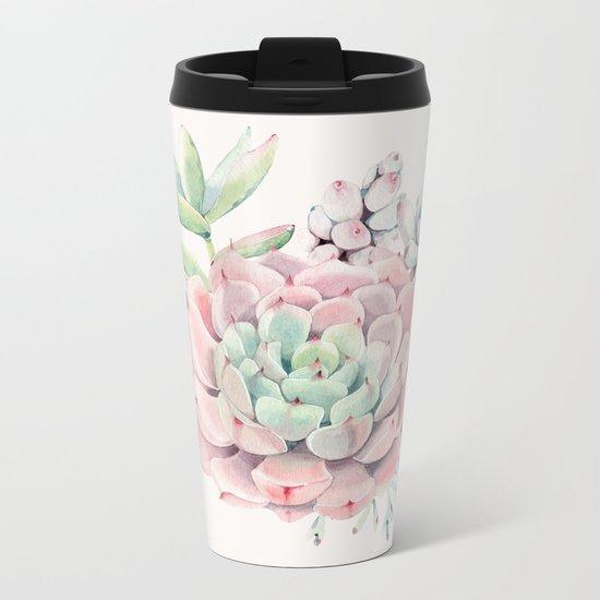 Perfect Pink Succulent Metal Travel Mug