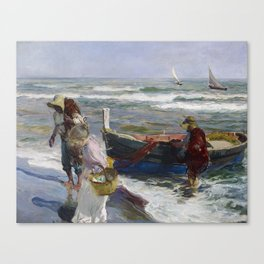 Joaquin Sorolla, Return from Fishing, 1889 Canvas Print