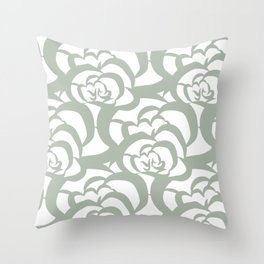 Sage Green Floral Flower Clouds Throw Pillow