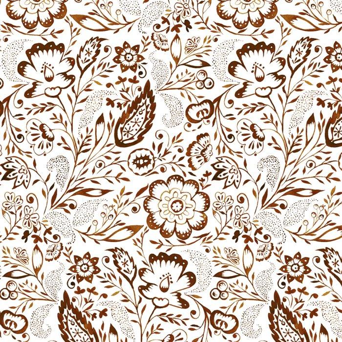 Folk Floral Brown Leggings