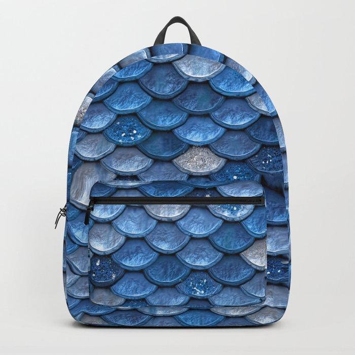 Blue sparkling glitter mermaid scales - Mermaidscales Backpack