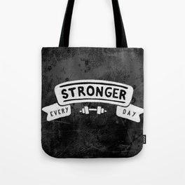 Stronger Every Day (dumbbell, black & white) Tote Bag