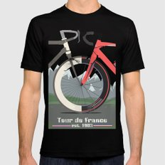 Tour De France Bicycle Mens Fitted Tee LARGE Black