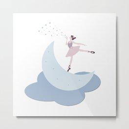 Ballerina on the Moon Metal Print