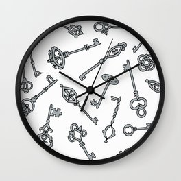 Grey Skeleton Keys Wall Clock