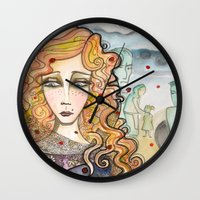 black widow Wall Clocks featuring Widow by Aleksandra Jevtovic