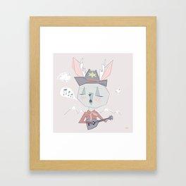 Singing Jackelope Cowboy in Pink Framed Art Print