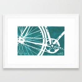 Teal Bike Framed Art Print