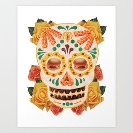 "Mexican Day of the Dead Bacon Sugar Skull ""Calavera de Comida"" Art Print"