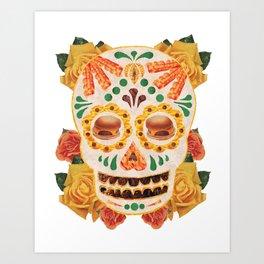 """Mexican Day of the Dead Bacon Sugar Skull """"Calavera de Comida"""" Art Print"""
