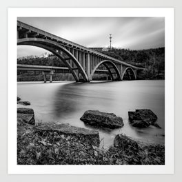 Branson MO Lake Taneycomo Bridge In Black and White 1x1 Art Print