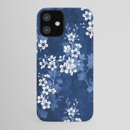Sakura blossom in deep blue iPhone Case