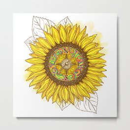 Sunflower Compass Metal Print