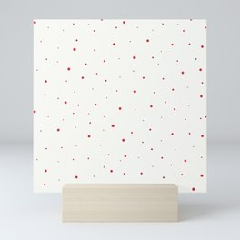 Red dots virus over beige background Mini Art Print