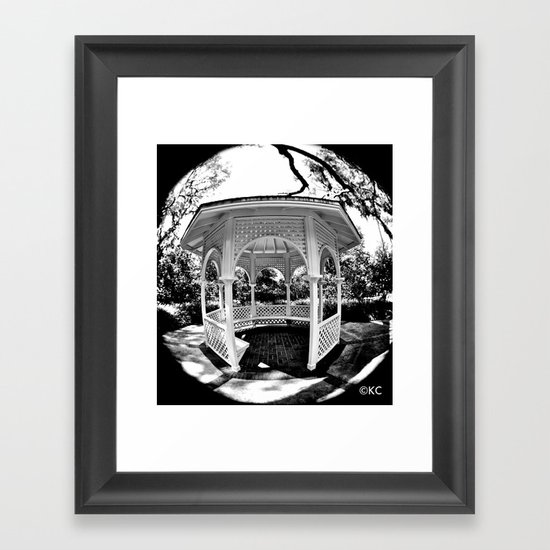 Gazebo Black and White Framed Art Print