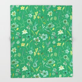Verdant Flowers on Emerald Background Throw Blanket
