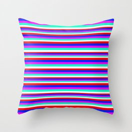 Colored Stripes - Fire Red Royal Blue Pink Mint White Throw Pillow