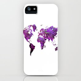 Purple World Map iPhone Case