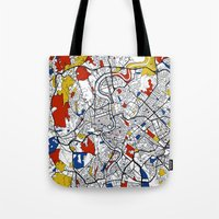 rome Tote Bags featuring Rome by Mondrian Maps