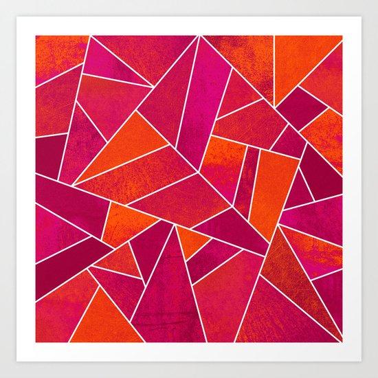 Hot Pink & Orange stone Art Print
