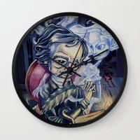 edgar allan poe Wall Clocks featuring Edgar Allan Poe by Pajamarai Illustrations