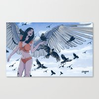raven Canvas Prints featuring Raven by Radical Ink by JP Valderrama