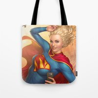 supergirl Tote Bags featuring Supergirl by kody