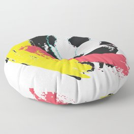 Football ball and red, yellow strokes Floor Pillow