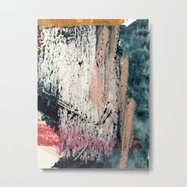 Kelly: a bold, textured, abstract mixed media piece in bright pinks, blues, and white Metal Print