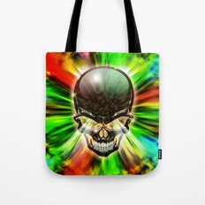 Crystal Skull on Psychedelic Flames Tote Bag