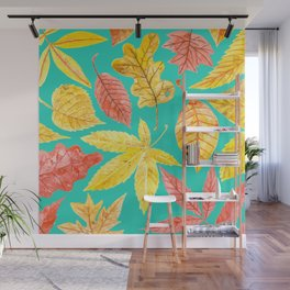 Autumn leaves watercolor teal Wall Mural